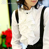 韩版淑女大荷叶边衬衫