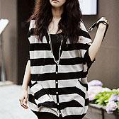 韩国春装蝙蝠袖条纹开衫